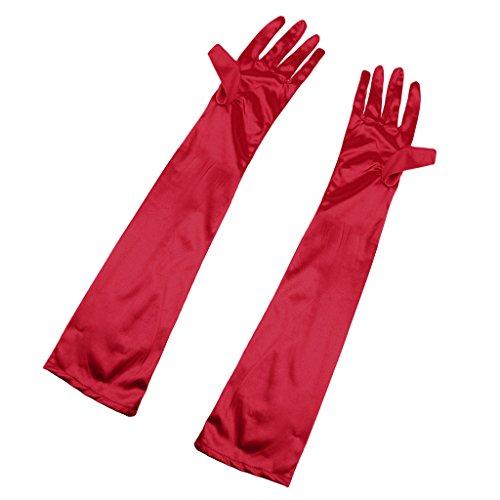 【ノーブランド品】 【ノーブランド 品】女性 手袋 長い エレガント オペラ 夜 ウェディングパーティー 結婚式 アクセサリー 全12色 - 赤