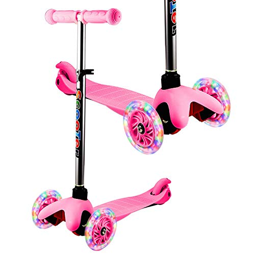 YUEBO Kids Scooter for Toddlers & Boys Girls Non-Batteries LED Light Up Baby Scooter/ 3 Wheels Height Adjustable Scooter Suitable for 3-12 Years Old Kids