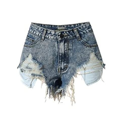 Discount Engineeringed Women Slim High Waist Irregular Denim ShortsFashion Tassel Snowflake Ripped for cheap