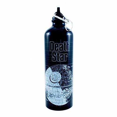 Silver Buffalo SV6098AL Star Wars Death Star Aluminum Water Bottle with Carabiner, 25 ounces
