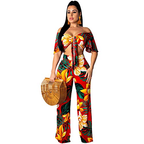 - Womens Floral Two Piece Outfits Wide Leg Palazzo Pants Jumpsuit Set with Crop Top Yellow