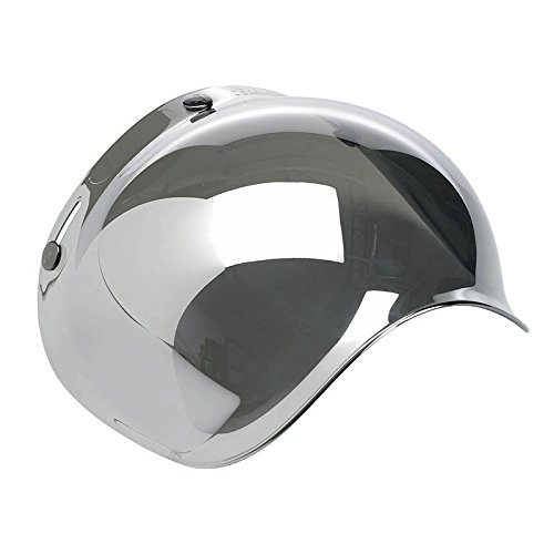 Mirror Smoke Helmet Shield - Autvivid Motorcycle Bubble Helmet Shield Smoke Tint Bubble Shield Motor 3-Snap Flip Up Face Wind Shield Lens Smoke One Size (Sliver)