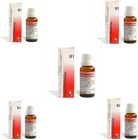 5 Lots X Dr.Reckeweg R1 Homeopathic Remedy Drops - 22 ML