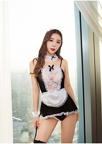Alljoin Sexy Lingerie Outfits Frisky French Maid Sexy Costume For Women, Black/White (3XL, White-Black (2 Piece Best Maid Dress)