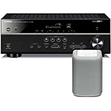 Yamaha RX-V483 Receiver with WX-010 Wireless Speaker (White), Works with Alexa