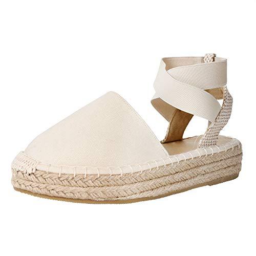 Women's Criss-Cross Wedge Espadrilles Flatform Almond Toe Slingback Faux Suede Dress Sandals