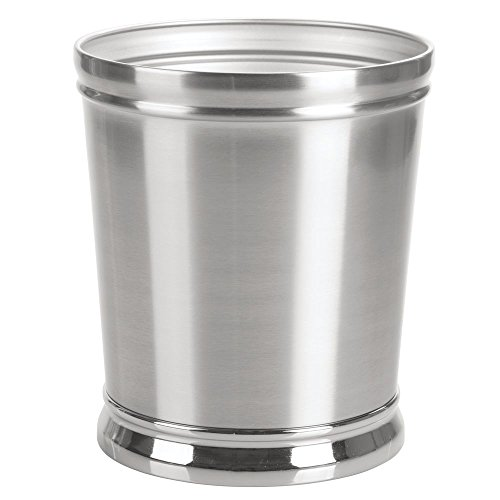 mDesign Decorative Metal Round Small Trash Can Wastebasket, Garbage Container Bin - for Bathrooms, Powder Rooms, Kitchens, Home Offices - Durable Solid Steel, Non-Slip Base - ()