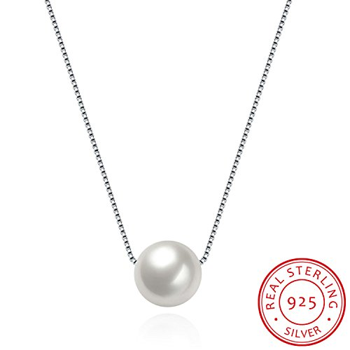 HMILYDYK Women Necklace Genuine 925 Sterling Silver Handmade Big Cultured Freshwater White Pearl Pendant Chain (1 Wife Heart Pendant)