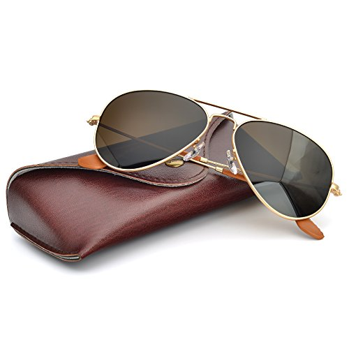 ecd1aa6cbc83 Galleon - BNUS Corning Natural Glass Lens Brown Polarized Aviator Sunglasses  For Men Women Italy Made (Frame  Matte Gold Lens  Brown B15 Polarized