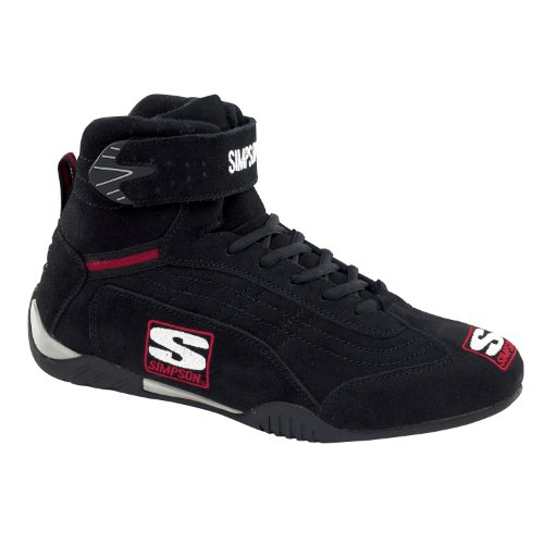 Simpson Racing AD100BK Adrenaline Black Size 10 SFI Approved Driving Shoes - Simpson Racing Gear