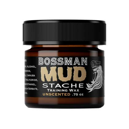 Bossman MUDstache- Mustache Training Wax, Last 24hrs, Unscented, No Tint. Tame, Train, and Style (Best Mustache Wax For Hold)