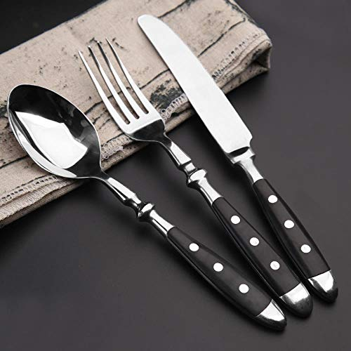 Stainless steel Western tableware set steak knife and fork two sets of bakelite black handle, Black handle knife and fork three-piece set