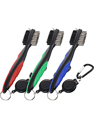 Jetec 3 Pieces Golf Double-sided Cleaning Brush Retractable Zipper Wire Groove Cleaning Tool by Jetec (Image #7)