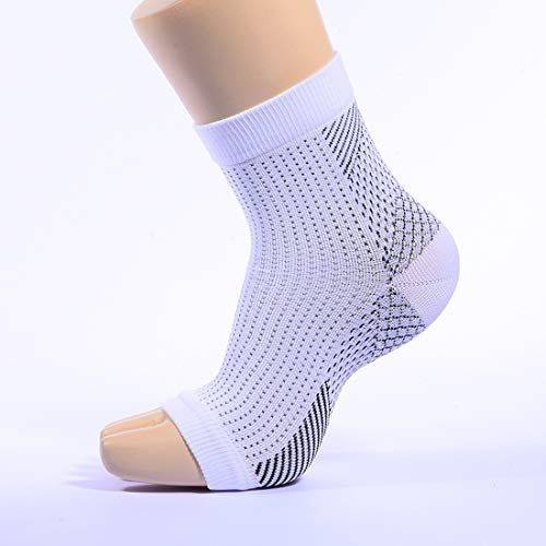 Compression Foot Sleeves for Men & Women MOCOFO 2 Paris Plantar Fasciitis Socks for Plantar Fasciitis Pain Relief, Heel Pain, and Treatment for Everyday Use with Arch Support (White, Large) by MOCOFO