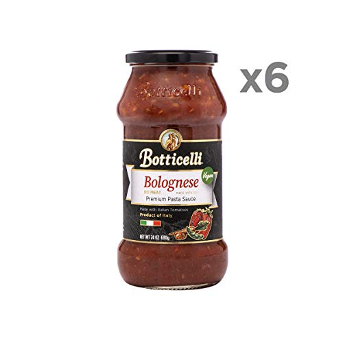 Botticelli Vegan Bolognese Premium Pasta Sauce. Delicious Homemade Style Red Sauce Made in Italy, with Soy and Natural Ingredients in Small Batches. (6 Pack)