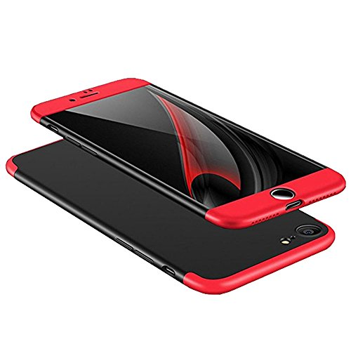iPhone 6s/6 Case, AICase 3 in 1 Ultra Thin and Slim Hard PC Case Anti-Scratches Premium Slim 360 Degree Full Body Protective Cover for iPhone 6s/iPhone 6 4.7 (Red+Black)