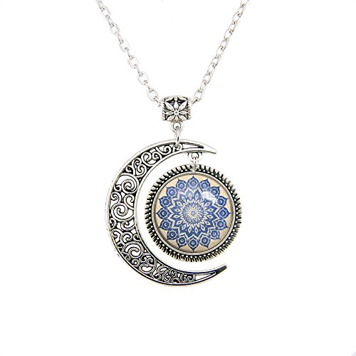 Moon pendant Navy Floral Mandala necklace Flower jewelry Mandala pendants Personalized Handmade jewelry