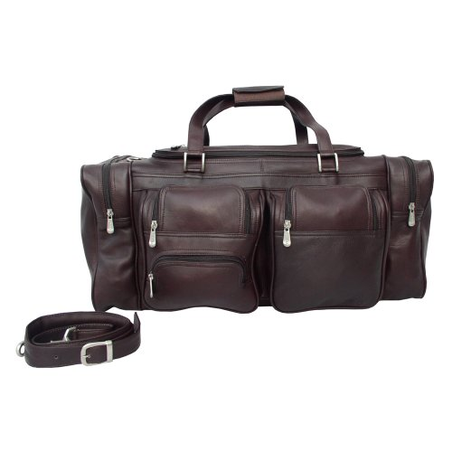 Piel Leather 24In Duffel with Pockets, Chocolate, One Size