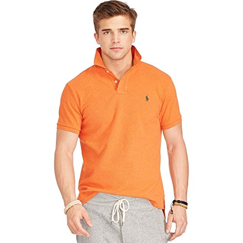 Polo Ralph Lauren Classic Fit Mesh Logo Polo Shirt,Dark Orange Green Pony,Medium