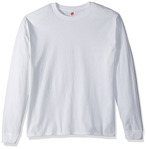 Hanes TAGLESS 6.1 Long Sleeve T-Shirt, Large White