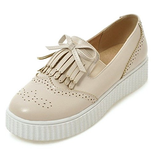 Comfort KemeKiss Platform Slip Fringe On Flat with Women Shoes apricot Pumps Zrxrqw5