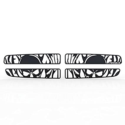 Ferreus Industries Grille Insert Guard Skull Flame White Powdercoat fits 1997-2004 Dodge Dakota TRK-112-10-White-a