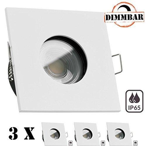 3er IP65 LED Einbaustrahler Set Weiß mit COB LED GU10 Markenstrahler von LEDANDO 7W mit dimmbarer Farbtemperatur - 1800-3000K warmweiß - Ra  95-420lm - 60° Abstrahlwinkel - anti-glare Linse - 50W Er