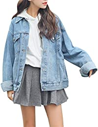 Womens Boyfriend Denim Jackets Long Sleeve Oversized Loose Jean Coat
