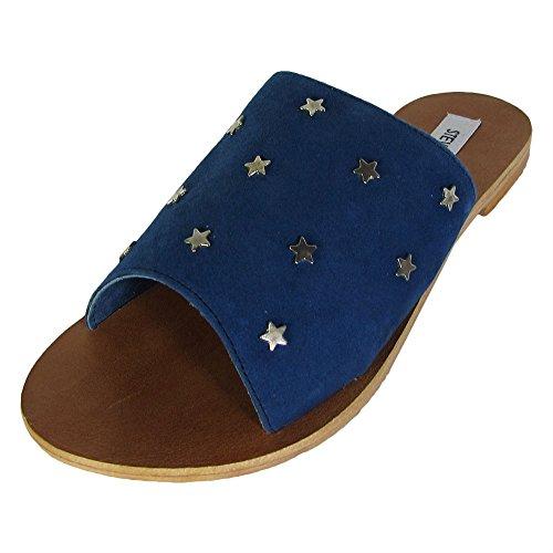 Steve Madden Women's Denise Flat Sandal, Blue/Multi, 6.5 M US