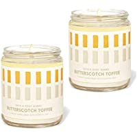 Bath and Body Works Butterscotch Toffee Single Wick Candle with Essential 7 oz / 198 g Each (2 Pack)