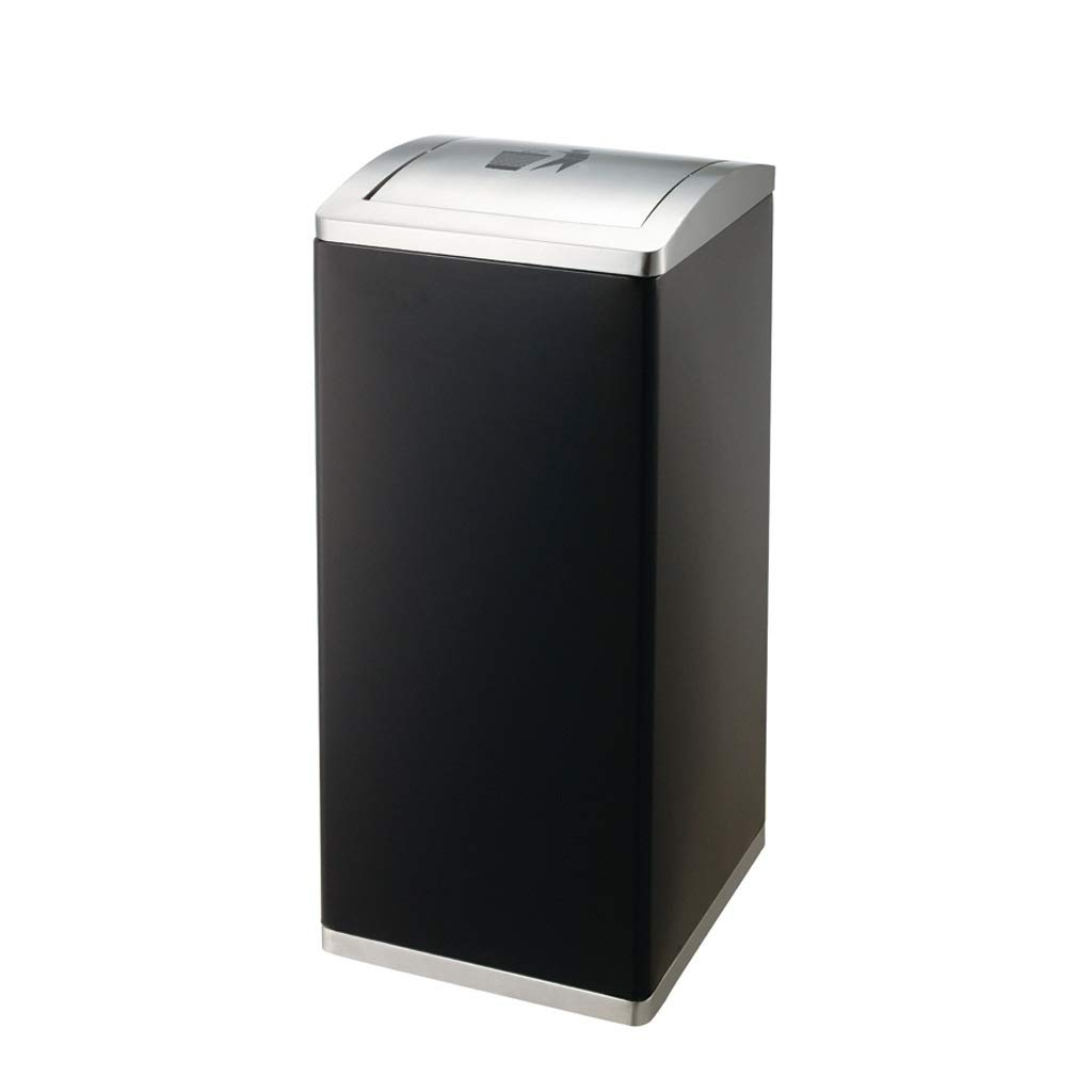 Metal Clamshell Rectangle 3 Classification in/Outdoor Dustbins Mall Uncovered Trash Can Recycling Compost Bins Paper Storage Bins Black (Color : Covered, Size : 1)