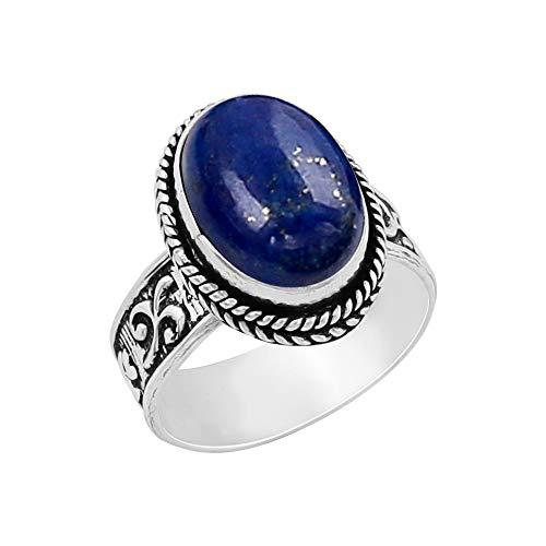 - Genuine Oval Shape Lapis Solitaire Ring 925 Silver Plated Vintage Style Handmade for Women Girls (Size-8.5)