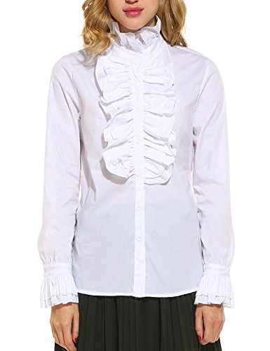 Button Cuff Ruffled Blouse - 4