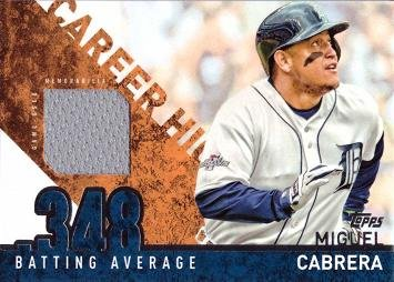 Cabrera Miguel Games (2015 Topps Career High Relics #CRH-MC Miguel Cabrera Game Worn Jersey Baseball Card - Gray Jersey Swatch)