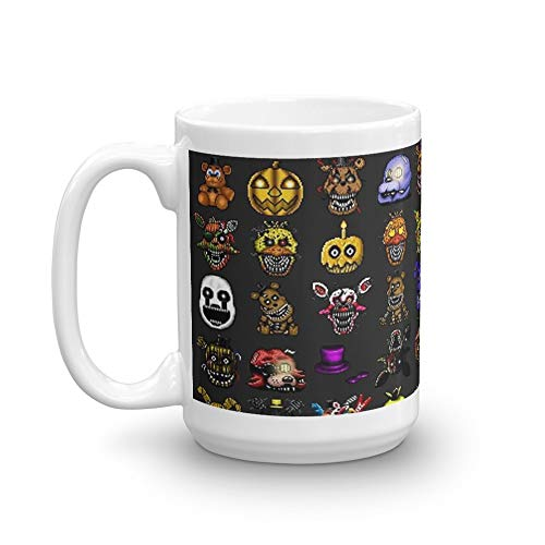 Five Nights at Freddy's - Pixel art - Multiple Characters New Set. 15 Oz Ceramic Glossy Mugs Gift For Coffee Lover