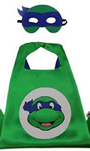 Dress Up Superhero Costume with Satin Cape and Matching Felt Mask (Ninja Turtles - Leonardo) ()