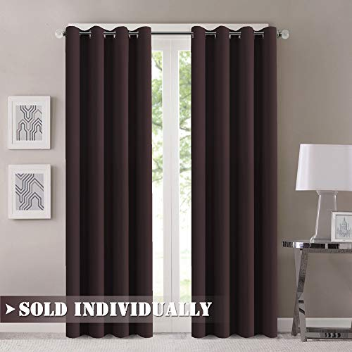 - FlamingoP Room Darkening Thermal Insulated Blackout Grommet Window Curtain for Living Room, Dark Brown, 52x84-inch, 1 Panel