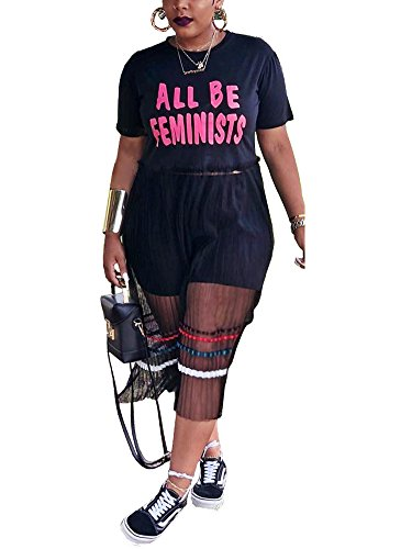 Ramoug Womens Casual Letter Print Short Sleeve Mesh Stitching Pleated Cover up Midi T-Shirt Dress