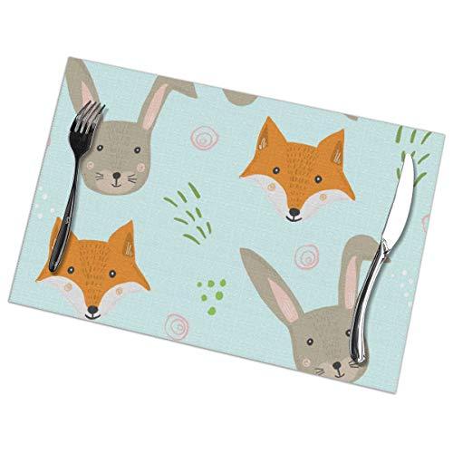 Dingl Lovely Rabbits and Cunning Foxes - Mantel, lavable, antideslizante, para cocina, mesa de comedor, facil de limpiar, 12 x 18 pulgadas, juego de 6