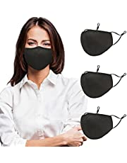 Washable Reusable Mask for Women Men, Cotton Cloth Black Mask Adult Sized, Cloth Masks with Adjustable Ear Loops, Breathable Face Mask with Mask Filter for Women, Men 3PCS