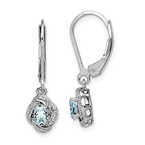 925 Sterling Silver Diamond Blue Aquamarine Leverback Earrings Lever Back Set Drop Dangle Birthstone March Fine Jewelry Gifts For Women For -