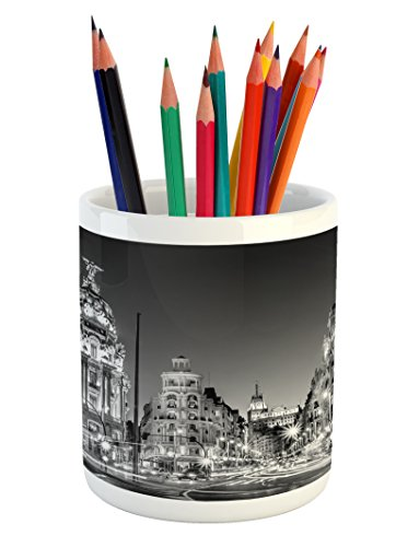 Ambesonne Black and White Pencil Pen Holder, Madrid City at Nighttime in Spain Main Street Ancient Architecture, Printed Ceramic Pencil Pen Holder for Desk Office Accessory, Black White Grey by Ambesonne