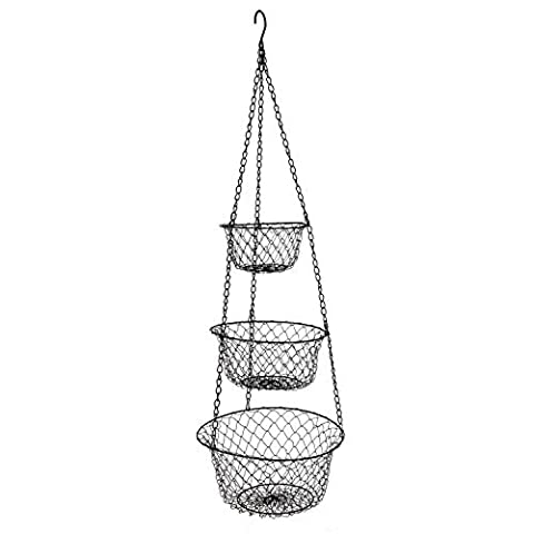 ATECKING 3 Tier Vegetable and Fruit Hanging Baskets - Home Storage Baskets