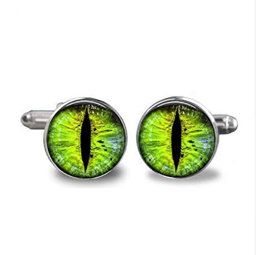 Handmade Cufflink Green Dragon Eye Cufflinks Glass Handcraft Quality Cufflink Jewelry (Cufflinks Dragon Green)