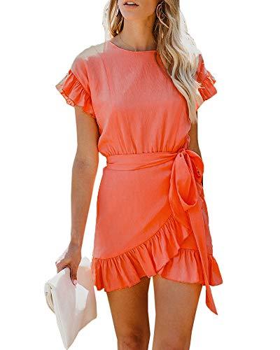 Empire Waist Wrap Dress - Youxiua Womens Wrap Ruffle Dresses Short Sleeve Casual Party Empire Waist Belts Mini Dress (Large, A-Picture Color)