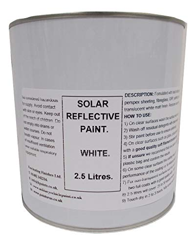 1 x 2.5 litres White Solar Reflect Paint Polycarbonate Glass Conservatory Shading Greenhouse Fascinating Finishes Ltd