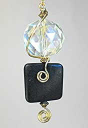 Crystal Faceted Glass and Black Wood Light / Fan Pull Chain