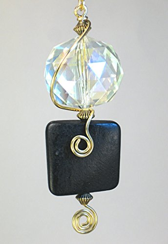 Crystal Faceted Glass and Black Wood Light/Fan Pull Chain by Trace Ellements
