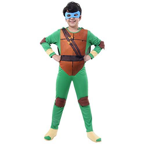 Tartaruga Ninja Leonardo Luxo Infantil Sulamericana Fantasias Verde/Marrom/Bege G 10/12 Anos