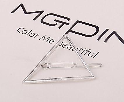 eae16a9b94184 ANKKO 5pcs Triángulo Hueco geométrico Pasador Metal Horquilla Pinza de Pelo  (Plata)